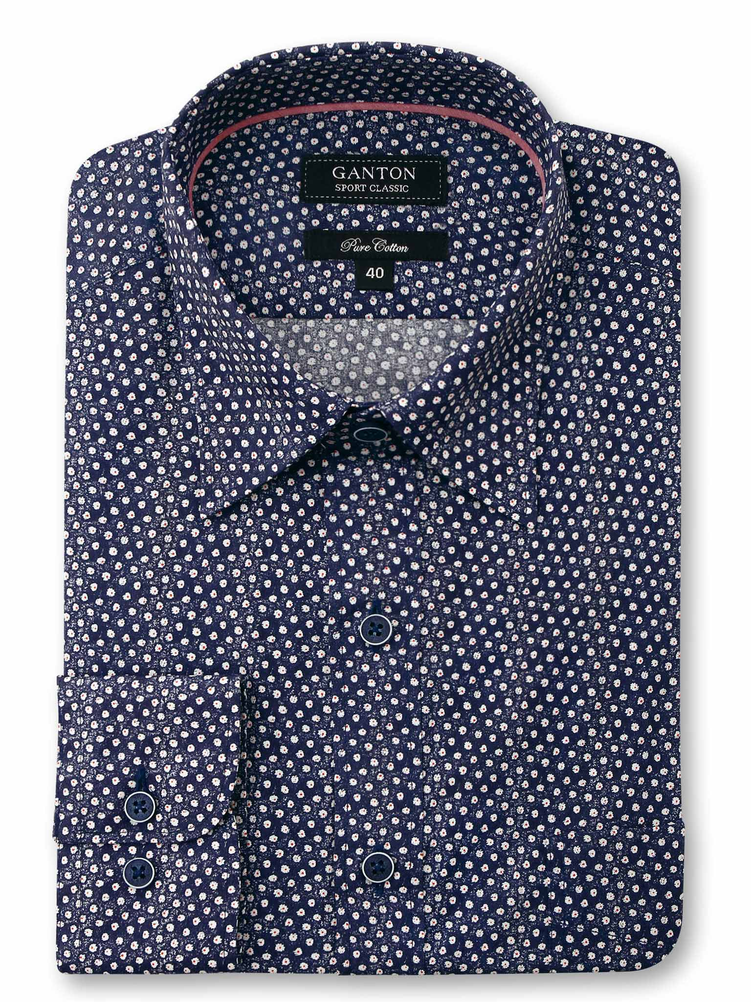 Navy White Print Classic Fit Alton Pure Cotton Shirt