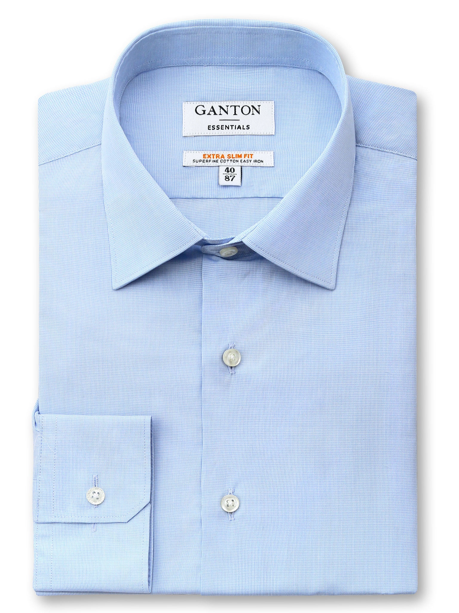 Mid Blue Slim Fit Ewan Easy Iron Superfine Cotton Essentials Shirt