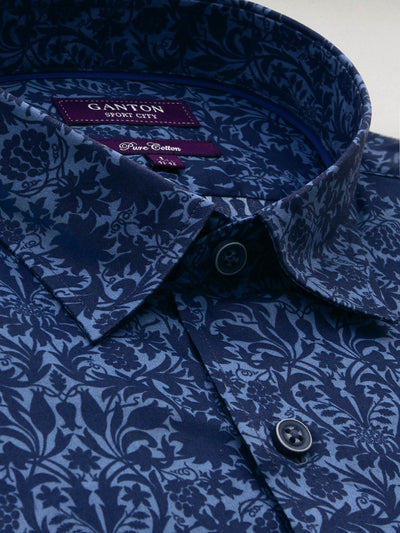 Navy Printed Liberty Floral Tailored Fit Fitzroy Pure Cotton Shirt