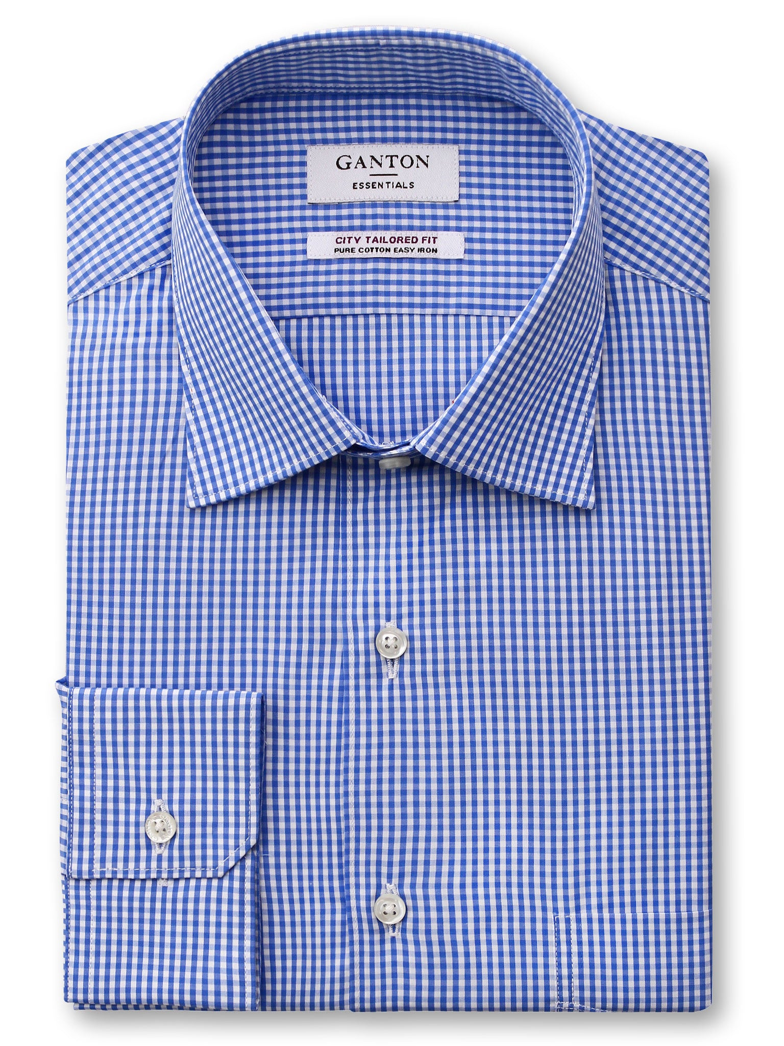 Blue Check Tailored Fit Emery Superfine Cotton Easy Iron Essentials Shirt