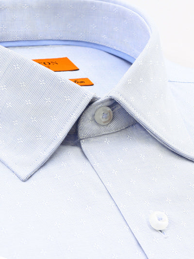 Light Blue Textured Slim Fit Kendrick Pure Cotton Shirt