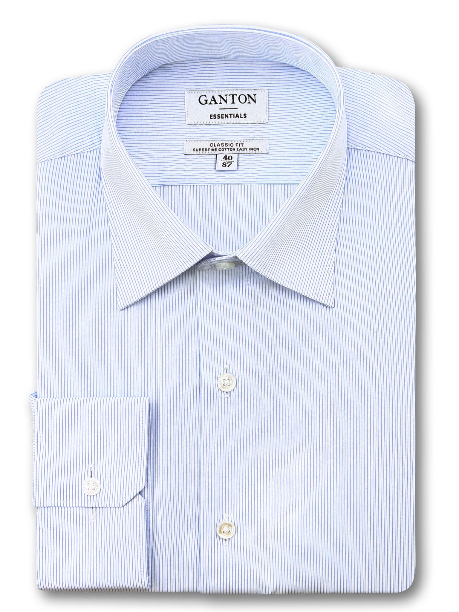 All Light Blue White Stripe Classic Fit Edley Easy Iron Superfine Cotton Essentials Shirt