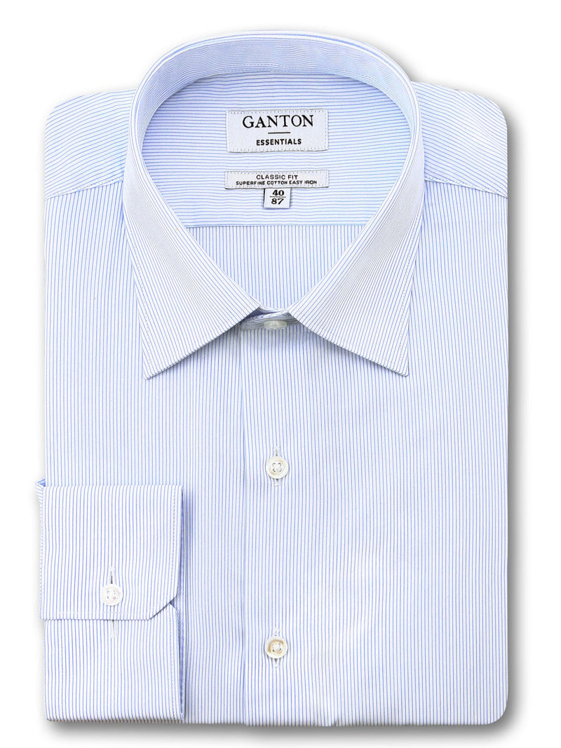 Light Blue White Stripe Classic Fit Edley Easy Iron Superfine Cotton Essentials Shirt
