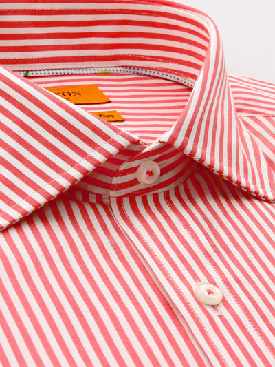 Red White Stripe Tailored Fit Joel Easy Iron Pure Cotton Shirt