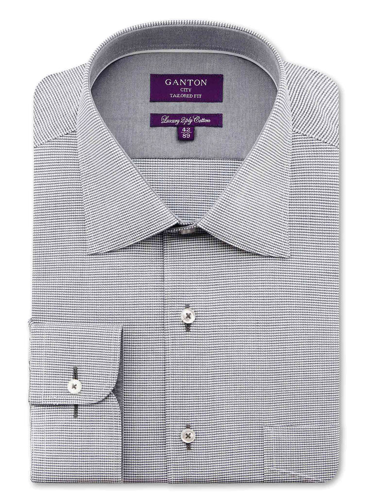 Grey Textured Tailored Fit Billy Luxury 2 Ply Cotton Shirt