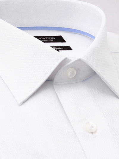 White Textured Classic Fit Jerone Cotton Polyester Shirt