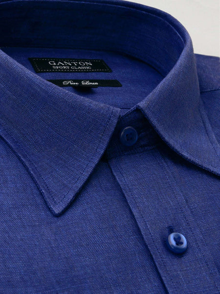 Navy Plain Classic Fit Bishop Pure Linen Shirt
