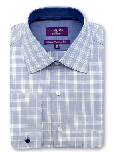 Light Blue Check Tailored Fit Quinn Wash & Wear Easy Iron Shirt