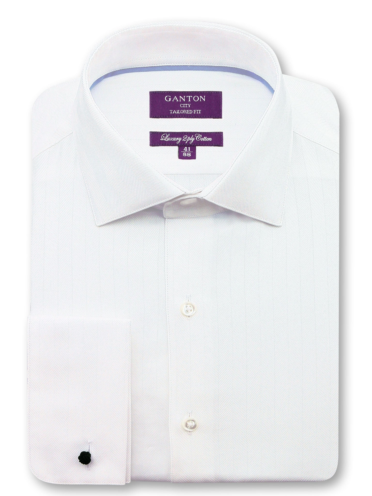 All White Textured Tailored Fit Oliver Luxury 2 Ply Cotton Shirt