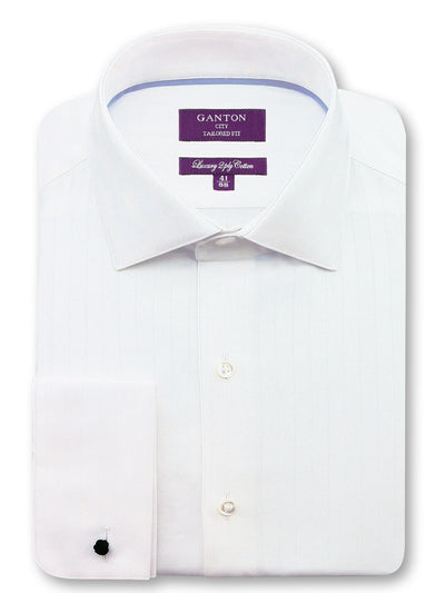 White Textured Tailored Fit Oliver Luxury 2 Ply Cotton Shirt