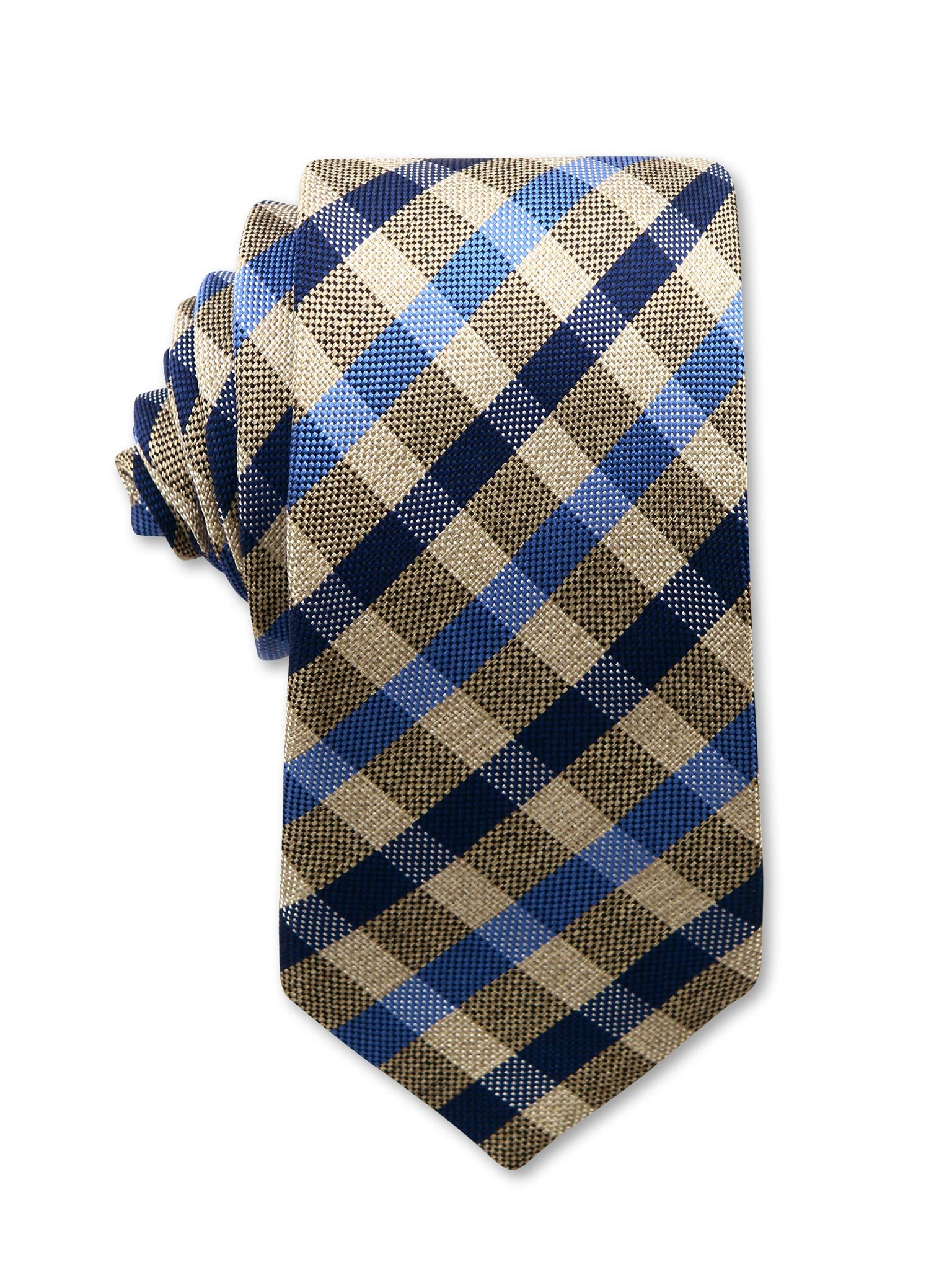 Brown Blue Black Check 7cm Italian Silk Tie Made in Australia