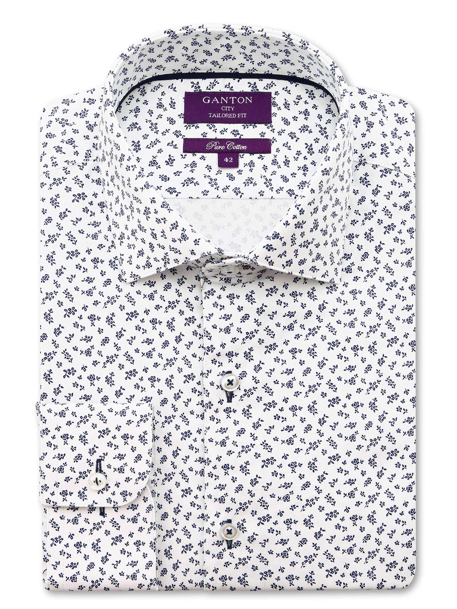 White Navy Pattern Tailored Fit Benson Cotton Shirt