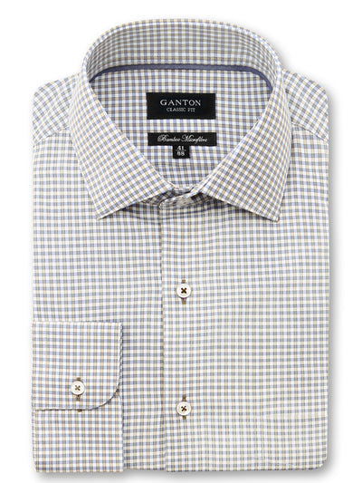 Grey Brown White Check Classic Fit Jayden Bamboo Microfibre Shirt