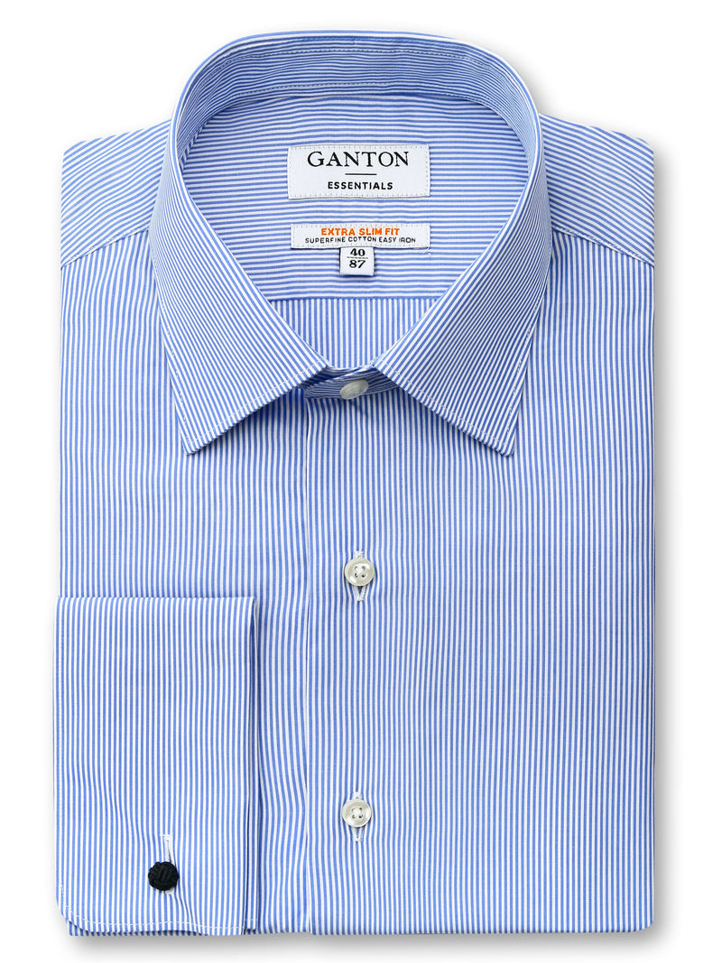 Mid Blue White Stripe Slim Fit Eton Easy Iron Superfine Cotton Essentials Shirt