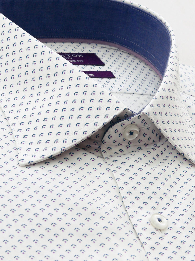White Purple Print Tailored Fit Roger Easy Iron Pure Cotton Shirt