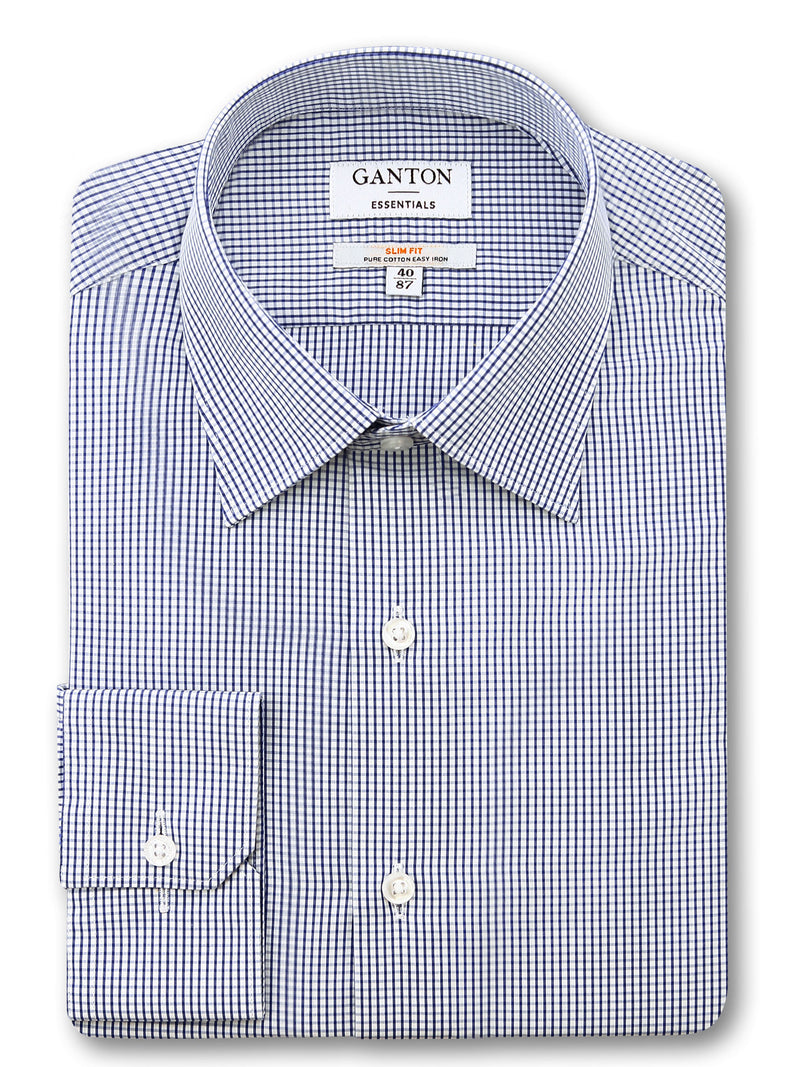 Navy Check Slim Fit Epton Easy Iron Superfine Cotton Essentials Shirt