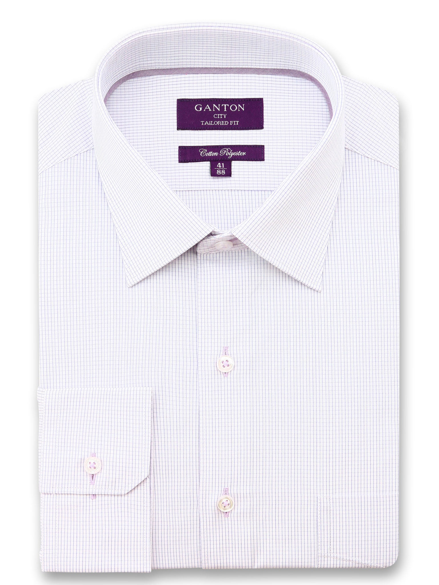 Light Pink Check Tailored Fit Desmond Cotton Polyester Shirt