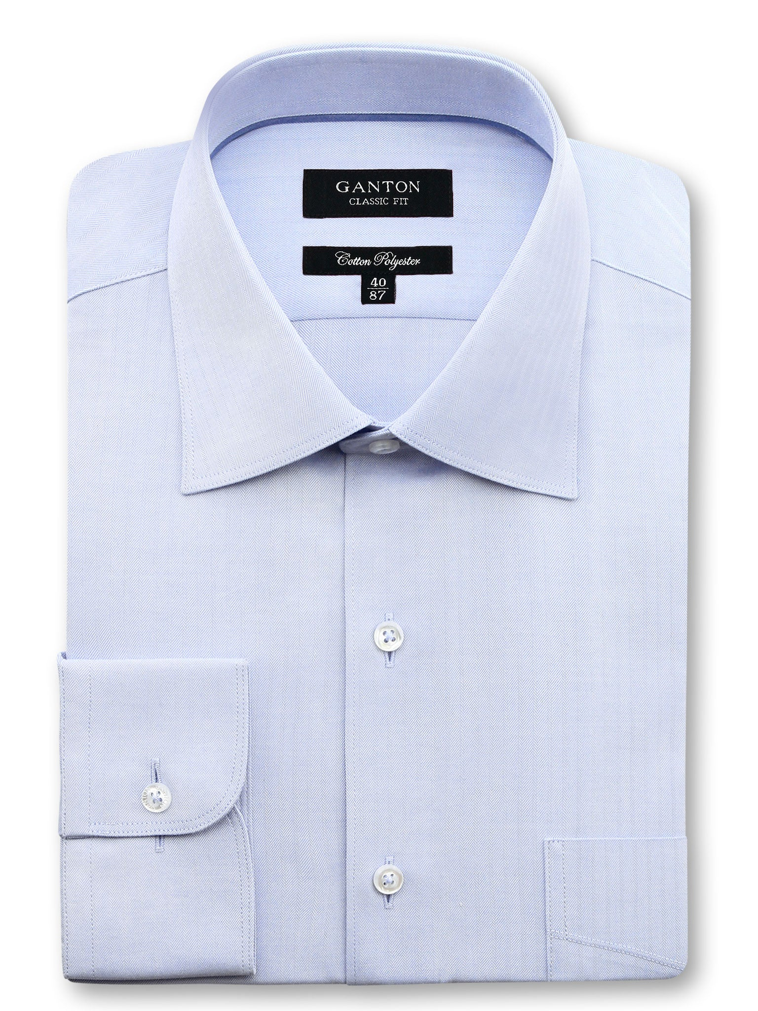 All Light Blue Textured Classic Fit Mark Cotton Polyester Shirt