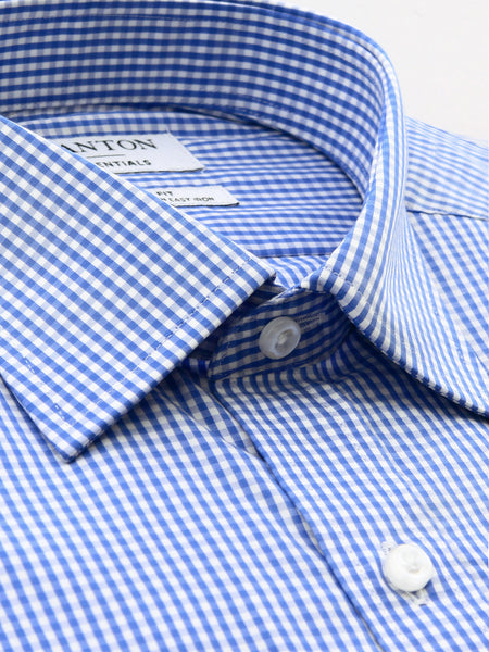 Mid Blue Check Classic Fit Ennis Easy Iron Superfine Cotton Essentials Shirt
