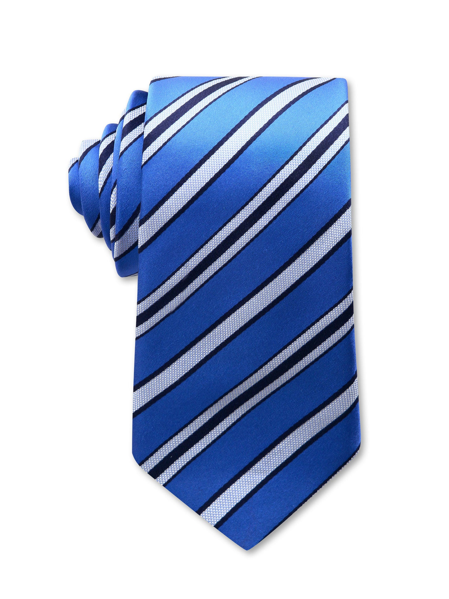 Blue White Navy Diagonal Stripe 7cm Lincoln Luxury Silk Tie Made in Australia