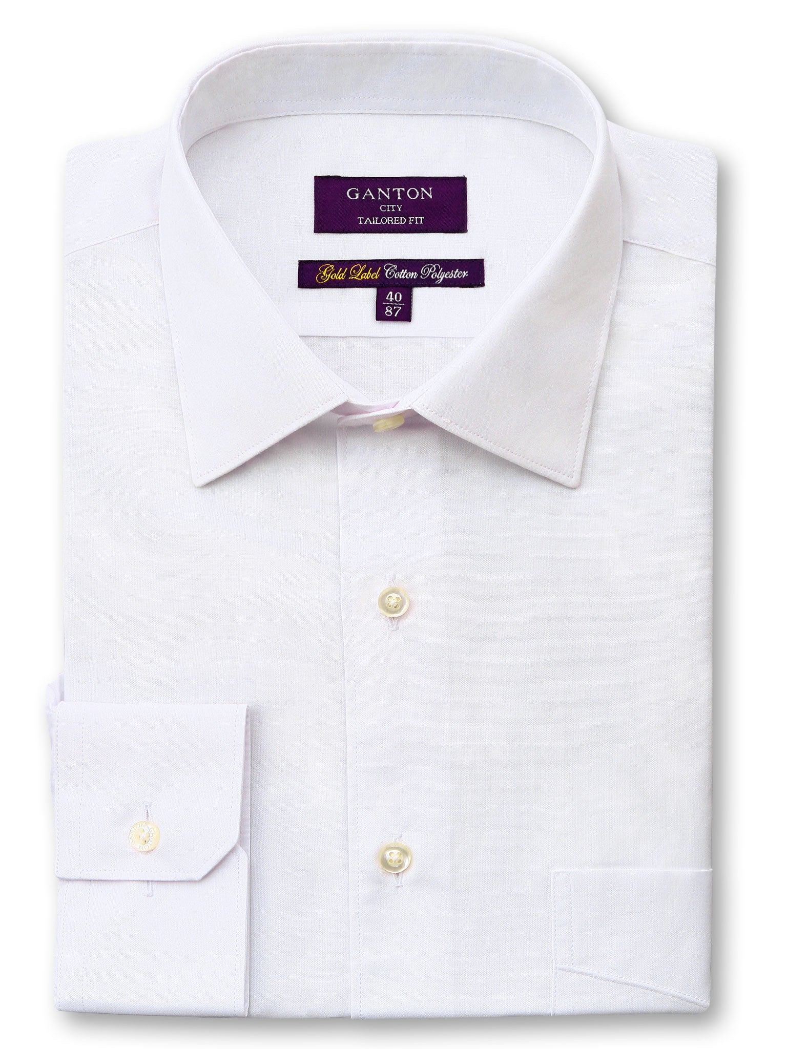 All White Gold Label City Tailored Fit Cotton Polyester Shirt