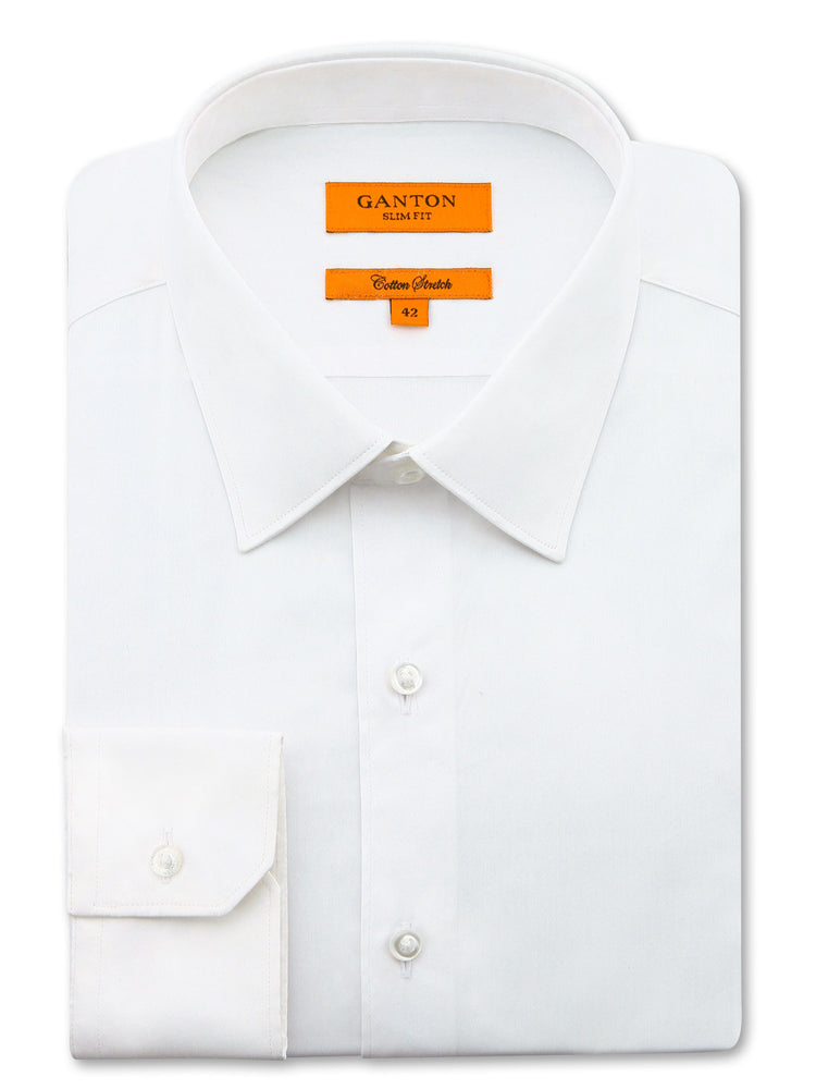 All White Plain Slim Fit Mitch Stretch Cotton Shirt