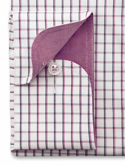 Pink White Check Classic Fit Bill Wash Wear Swiss Cotton Shirt