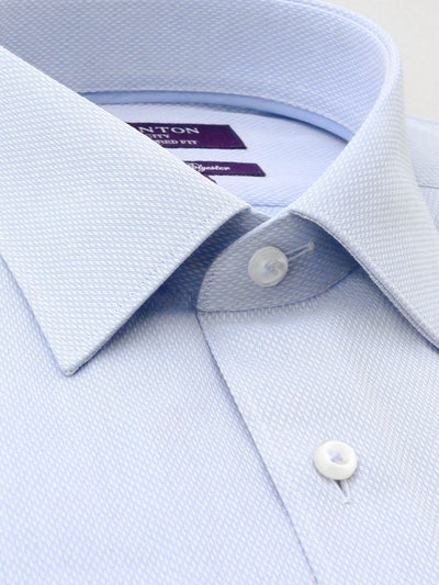 Blue Textured Tailored Fit Darcy Cotton Polyester Shirt