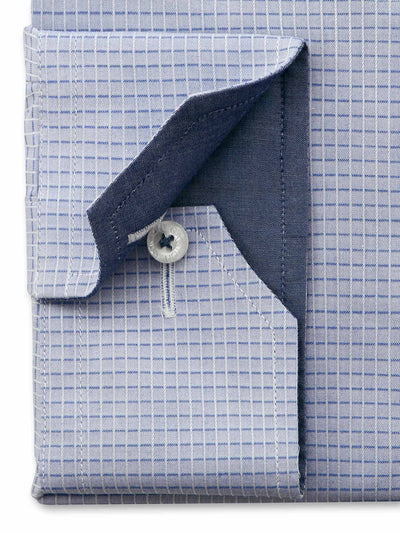 Blue Check Tailored Fit Kevin Easy Iron Pure Cotton Shirt