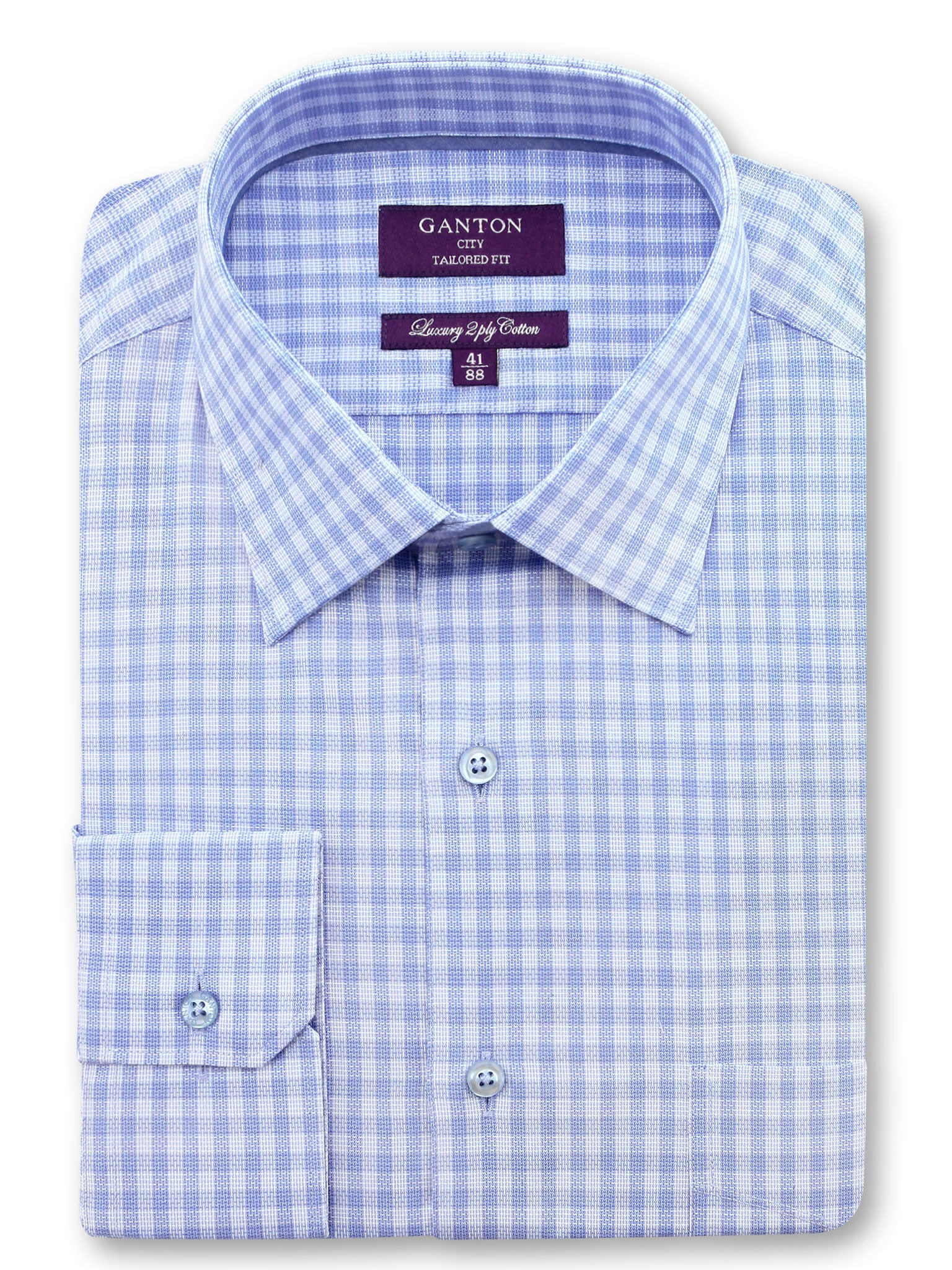 Blue Check Tailored Fit Hendrix Luxury 2 Ply Cotton Shirt