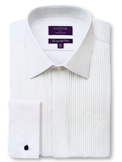 White Tailored Fit Alastair Luxury 2 Ply Cotton Pleated Dinner Shirt