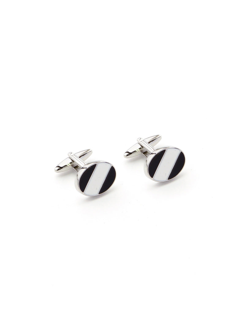 CUDWORTH Black & white stripe Enamel Cufflinks
