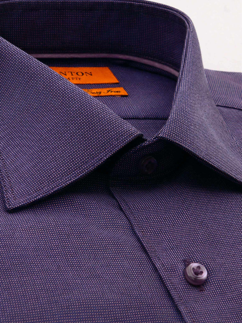 Purple Textured Slim Fit Ivan Easy Iron Cotton Shirt