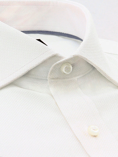 White Textured Classic Fit Casey Luxury 2 Ply Cotton Shirt