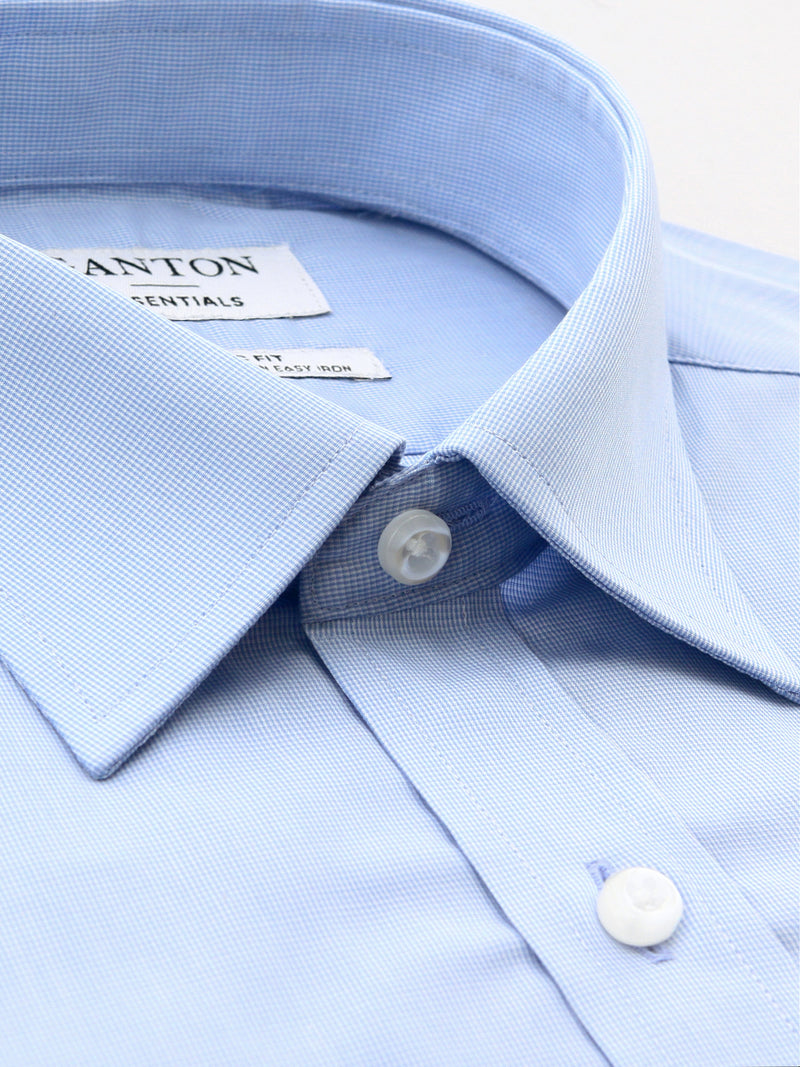 Mid Blue Classic Fit Elden Easy Iron Superfine Cotton Essentials Shirt