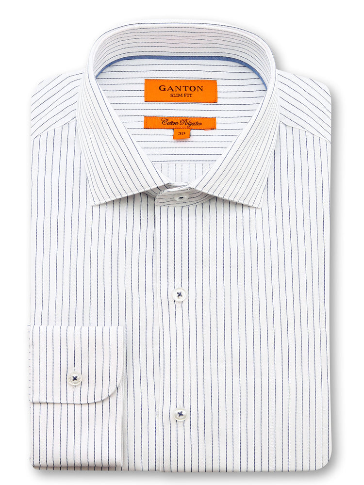 Navy White Stripe Slim Fit Forbes Cotton Polyester Shirt