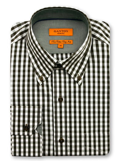 Green Check Slim Fit Henry Easy Iron Cotton Shirt