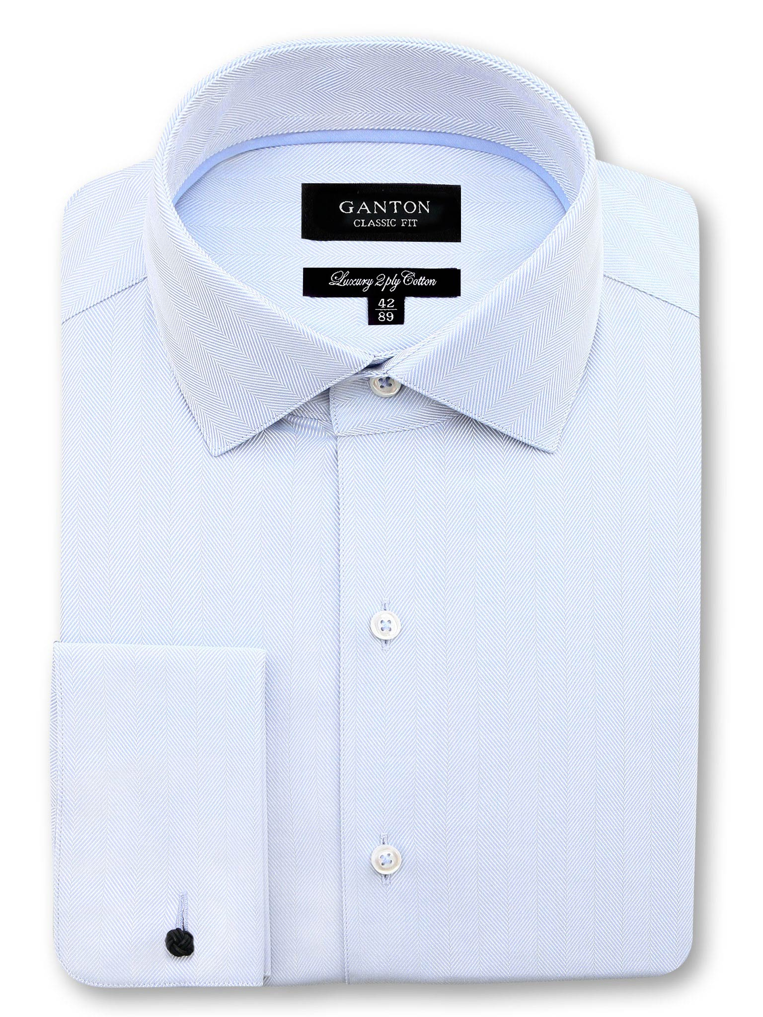All Light Blue Textured Classic Fit Jeremiah Luxury 2 Ply Cotton Shirt