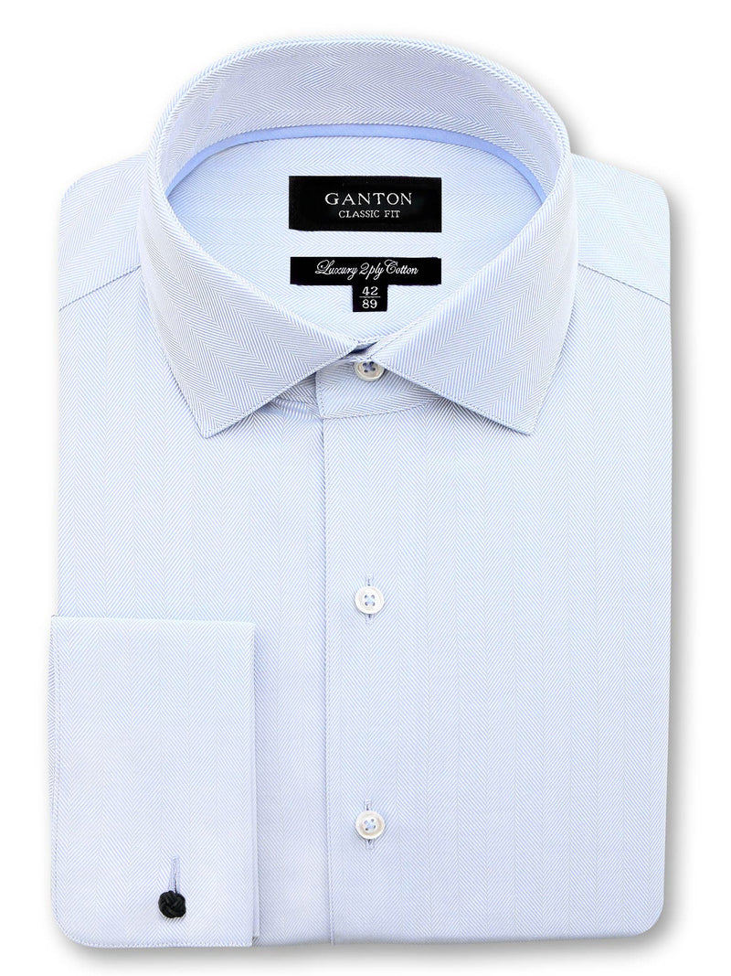 Light Blue Textured Classic Fit Jeremiah Luxury 2 Ply Cotton Shirt