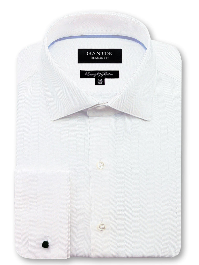 All White Textured Classic Fit Jeremiah Luxury 2 Ply Cotton Shirt