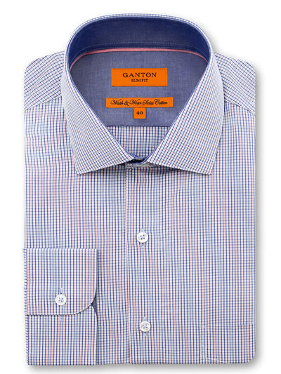 Blue Pink Check Slim Fit Devin Wash Wear Swiss Cotton Shirt