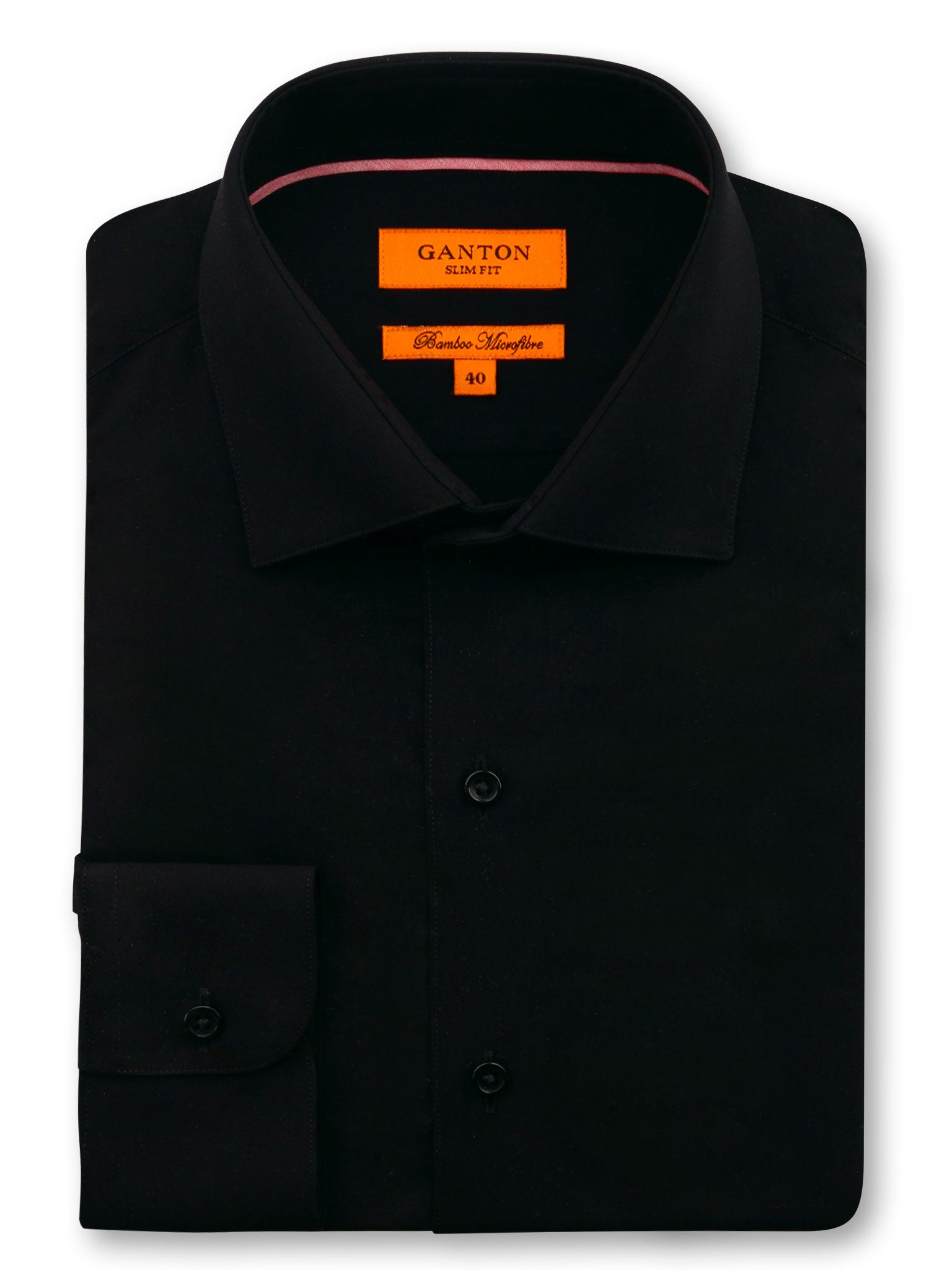 Flat Black Plain Slim Fit Brad Bamboo Microfibre Shirt