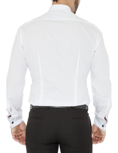 White Pleated Slim Fit Asher Luxury 2 Ply Cotton Dinner Shirt