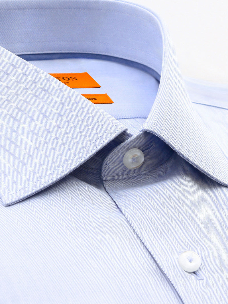 Light Blue Textured Slim Fit Bob Cotton Polyester Shirt