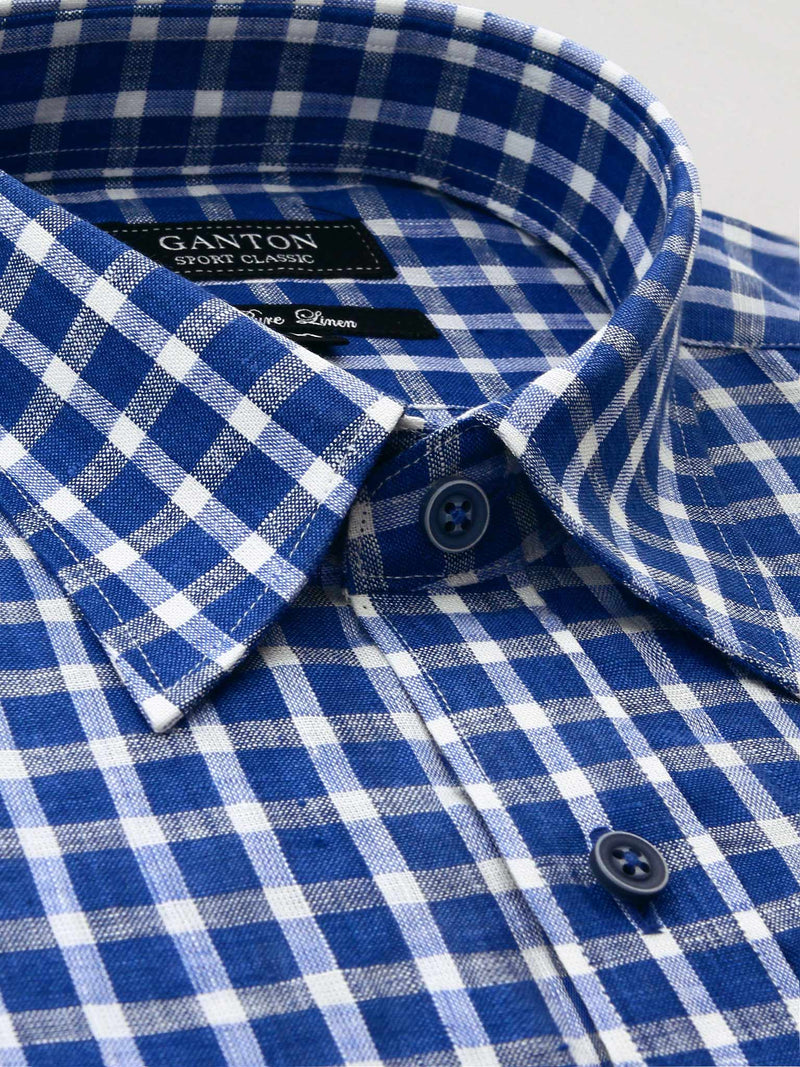 Blue White Check Classic Fit Talon Pure Linen Shirt