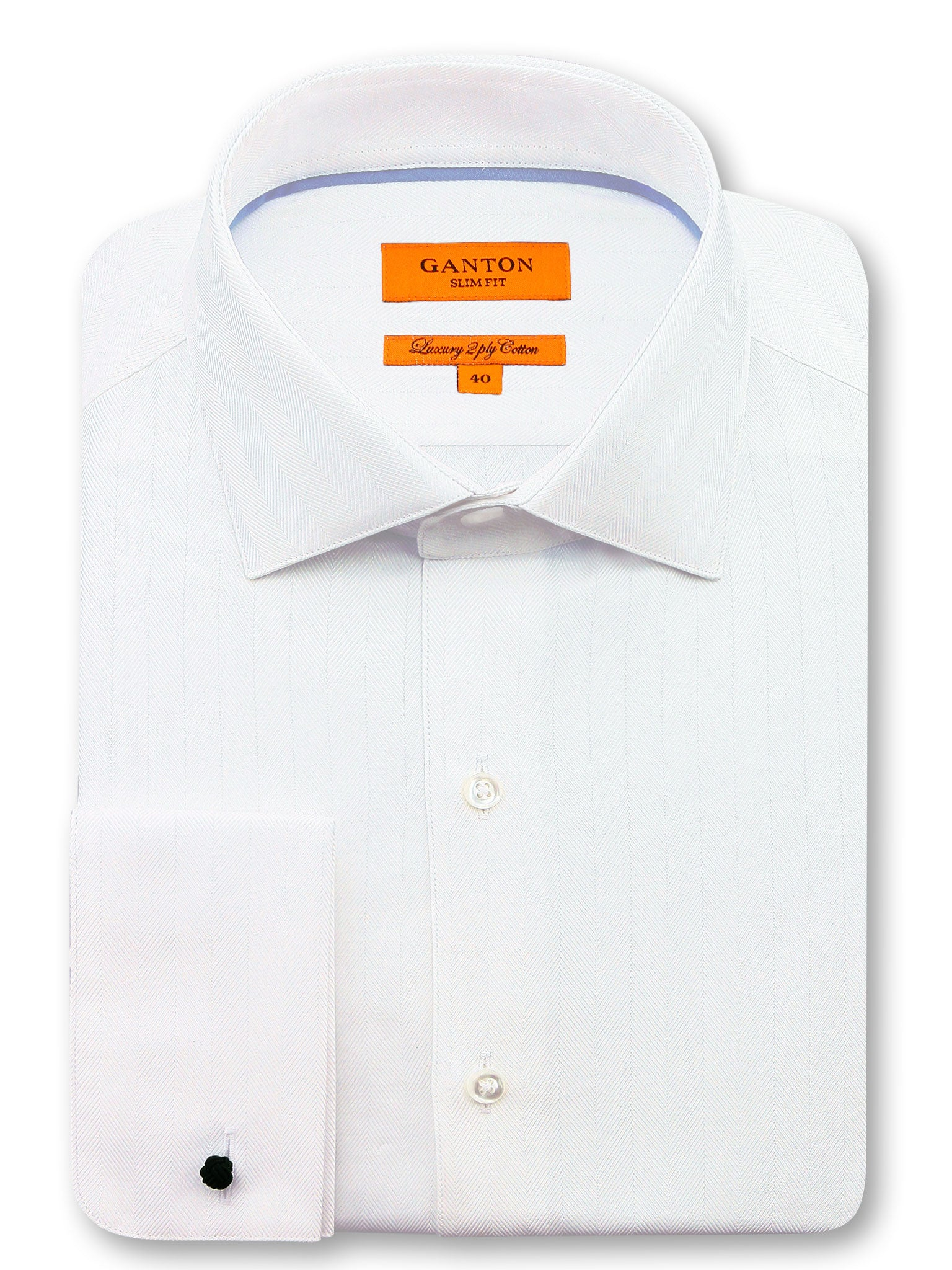 White Textured Slim Fit Bryson Luxury 2 Ply Cotton Shirt