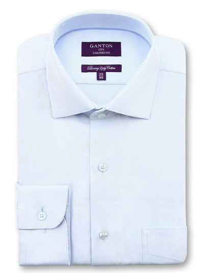 Blue Twill Tailored Fit Benjamin Luxury 2 Ply Cotton Shirt