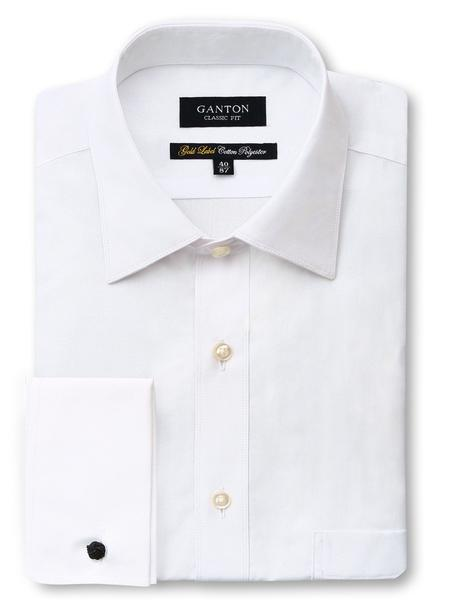 All White French Cuff Gold Label Classic Fit Cotton Polyester Shirt