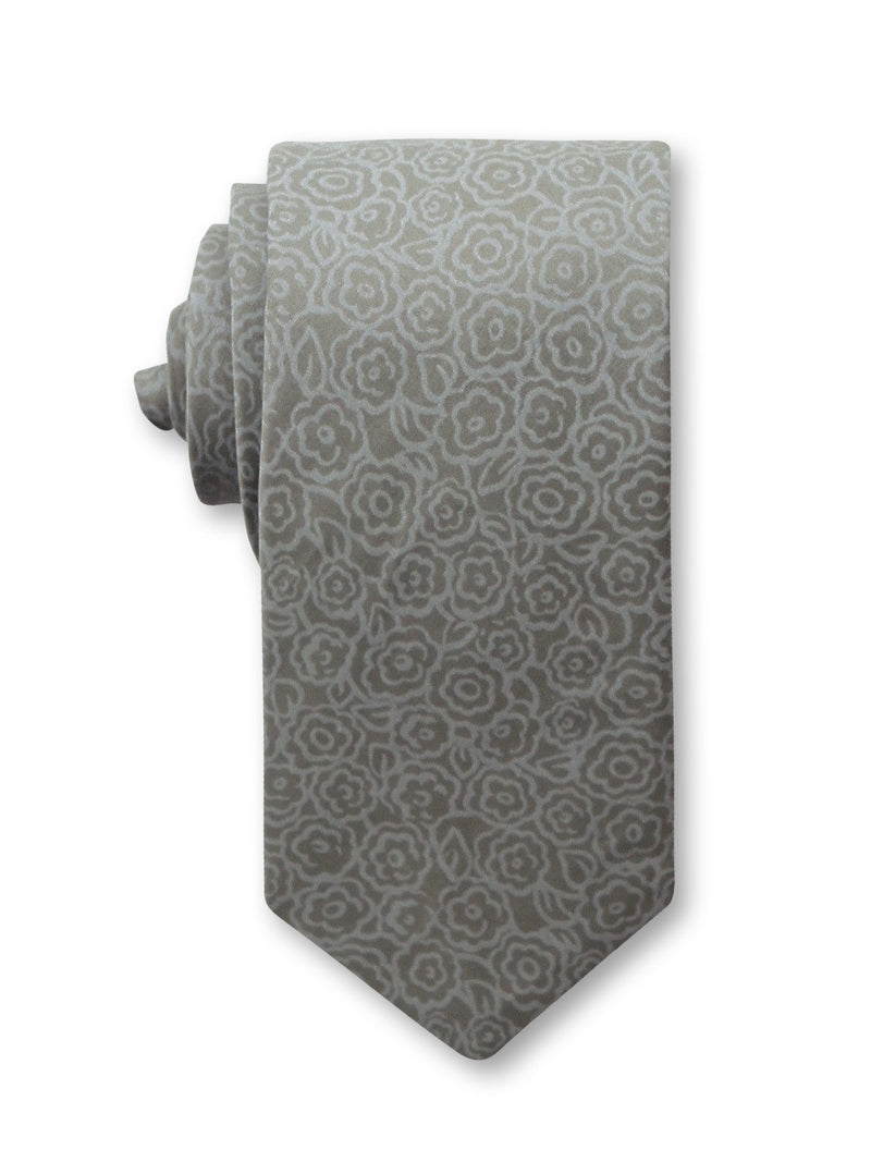 Grey Paisley Printed 7cm Cotton Tie Made in Australia