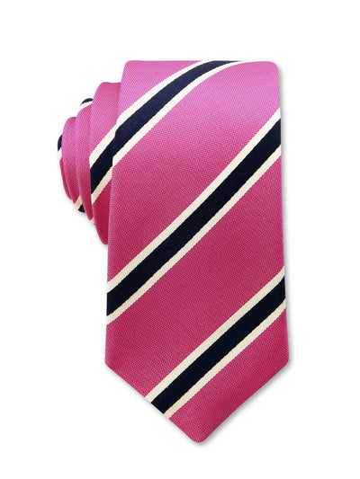Pink Black Stripe 8cm Dan Luxury Silk Tie Made in Australia
